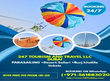 Parasailing+Desert Safari+burj khalifa tickets offers